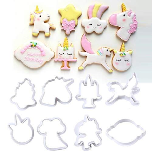 DreamJ 8 Pcs Unicorn Cookie Cake Mold DIY Unicorn Cookie Cutter Fondant Mold Set -Biscuit Cupcake Cake Decorating in Magic Unicorn or Fantastic Unicorn Theme Parties
