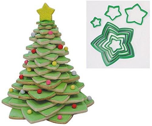 R&M International 5138 Star Tree Cookie Cutters to Make 3D Tree 10-Piece Plastic Set