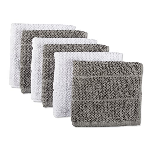 DII 100 Cotton Ultra-Absorbent Cleaning Drying Luxury Chef Terry Dish Cloths for  Everyday Kitchen Basic 12 x 12 Set of 6- Gray