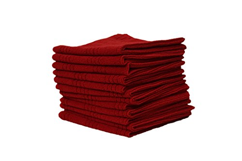 J M Home Fashions Microfiber Dishcloths 12 Pack 13 by 13 Red