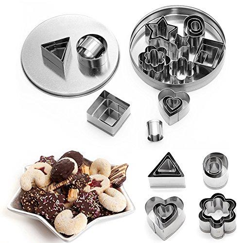 PERTOBAI Mini Cookie Cutter set – 24 Pieces Metal Fondant Cutters – 3 Hearts Shape 3 Stars Shape 3 Flowers Shape and 15 Geometric Shape
