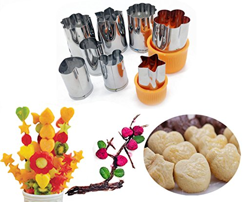 Fruit Vegetable Cutter Small Stainless Steel Cookie Press Kit Mold Cute Cartoon Shapes Star Flower Heart Kitchen Hand Tool for Kids Sandwich Food Making Orange 8PCS animal