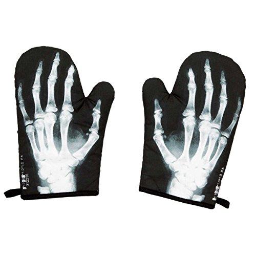 X Ray Skeleton Hand Bones Funny Oven Mitt Set 2