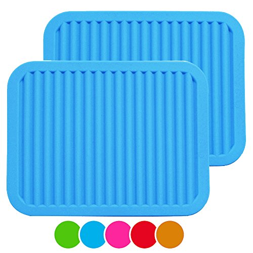 MEFAN 9 x 12 Big Silicone Trivets - Multi-purpose Silicone Pot Holders Spoon Rest and Kitchen Table Mat - Insulated Flexible Durable Non Slip Hot Pads and Coasters 2 Set Blue