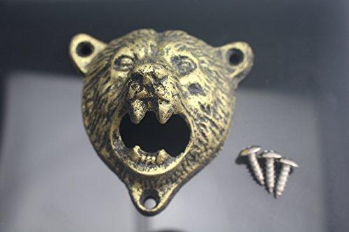 Tozz Pro  Cast Iron Wall Mount Grizzly Bear Teeth Bite Bottle Opener Gold Bear