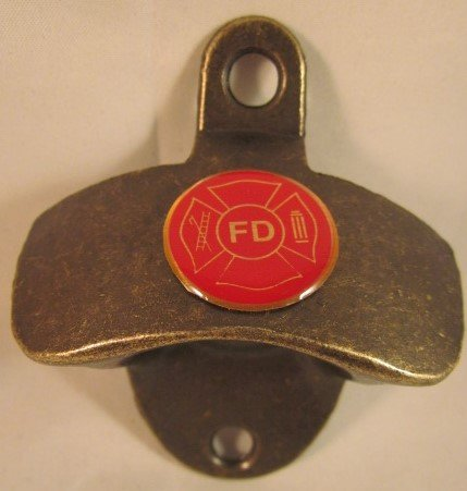 FD FIRE DEPARTMENT LOGO ON ANTIQUE BRASS FINISH METAL WALL MOUNTED BOTTLE CAP OPENER