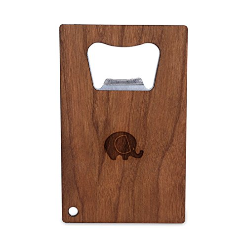 Elephant Bottle Opener With Wood Stainless Steel Credit Card Size Bottle Opener For Your Wallet Credit Card Size Bottle Opener