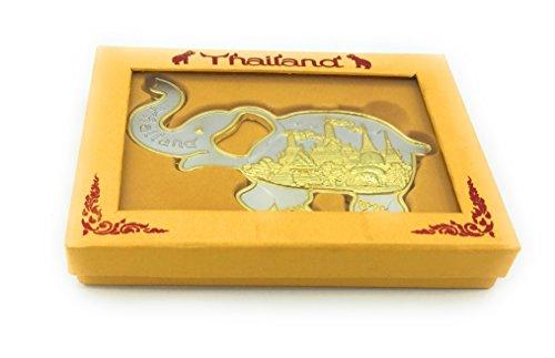 Thailand Beautiful elephant bottle opener w Fridge Magnets - Metal gold finish Great Gift any Occasional
