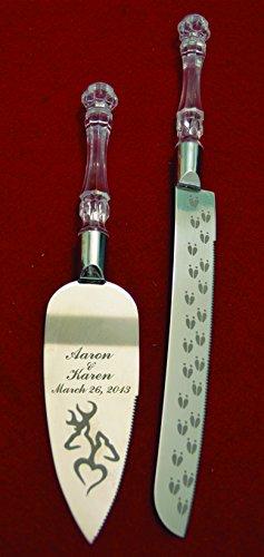 Buck Doe Deer Heart Engraved Wedding Cake Knife  Server Set Names and Date FREE