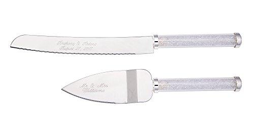 Personalized Wedding Cake Knife Server Set Engraved Custom Sparkle CZ Handle