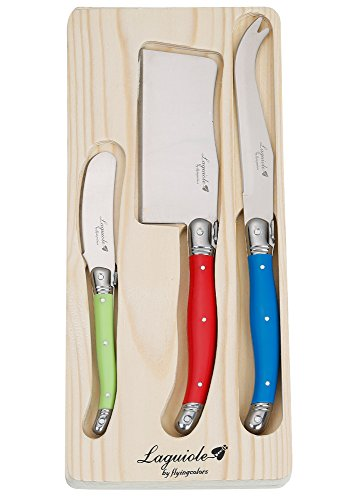 FlyingColors Laguiole Cheese Knife Set Stainless Steel Multicolor Handle 3 Pieces