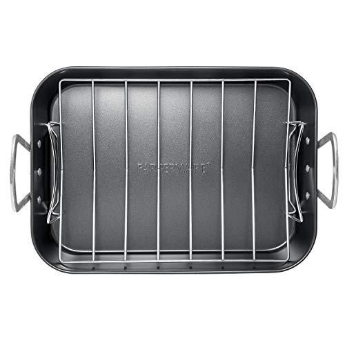 Farberware 46845 Roasters Nonstick Roaster  Roasting Pan with Rack - 11 Inch Gray