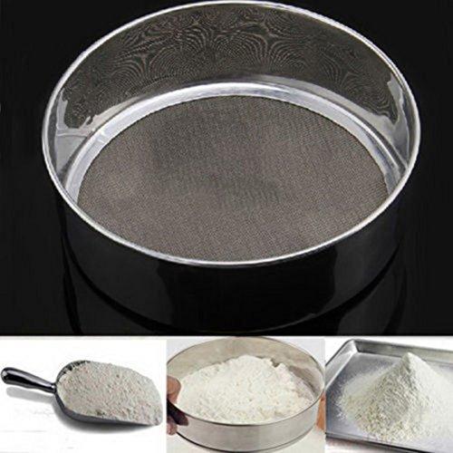 OUNONA Kitchen Fine Mesh Flour Sifter Stainless Steel Silver Net Flour Sieve Sifting Strainer Cake Baking Powdered Sugar Filter Mesh