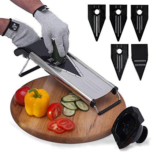 Improved Vegetable Mandoline Slicer V-Blade  FREE Cut-Resistant Gloves  Stainless Steel Adjustable Mandolin Slicer Julienne Cutter  Includes 5 Inserts Food Holder Blade Guard Safety Sleeve