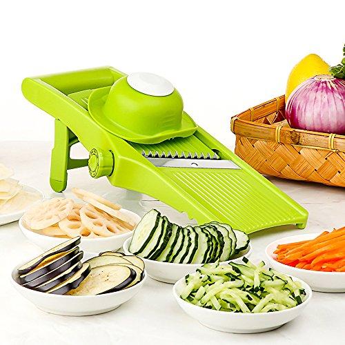 Mandoline Slicer - Adjustable Blade Fine to Thick Slice Julienne Settings Vegetable Cutter Grater Slicer for Vegetable Potato Tomato Onion Cheese