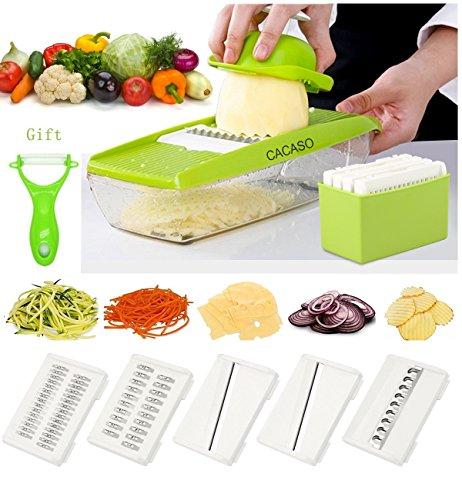 Mandoline SlicerPeeler Kitchen Vegetable Slicer Vegetable Grater Vegetable Cutter Julienne Slicer Potato Slicer Food Slicer Cheese Chopper Veggie Cutter for Cucumber With 5 Interchangeable Blades