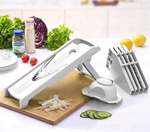 Mandoline Slicer w 5 Blades - Vegetable Slicer - Food Slicer - Vegetable Cutter - Cheese Slicer - Vegetable Julienne Slicer with 5 Surgical Grade Stainless Steel Blades White