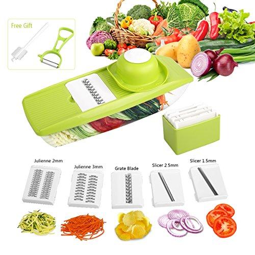 2017 Vegetable Slicer –3 Blades Multi-function Vegetable Spiralizer Mandolin Slicer for Vegetables and Fruit By LovelyHome Green-01