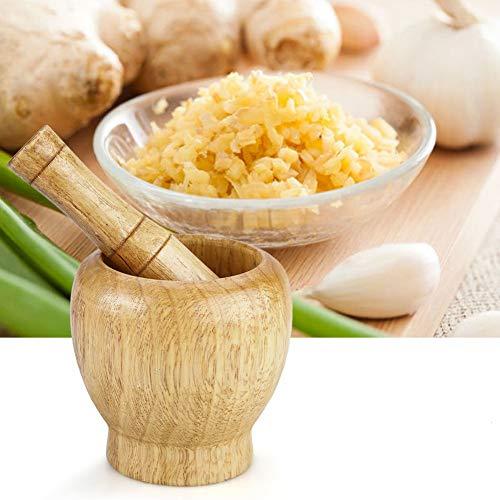 Wooden Mortar and Pestle Set for Grinding Garlic Ginger