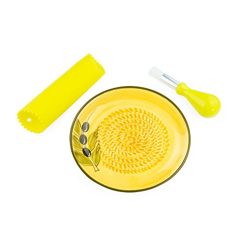 Ceramic Garlic Grater - Yellow With Olive Design