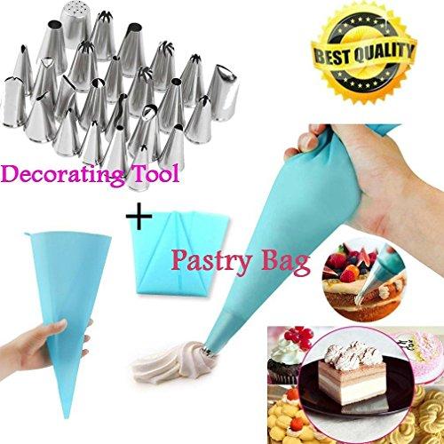 24 Pcs Icing Piping Nozzles Pastry Tips Cake Sugarcraft Decorating Tool Bag XP