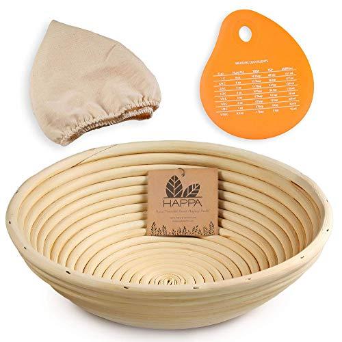 Happa Banneton Bread Proofing Basket Set Round Natural Rattan Bread proofing Brotform  Linen Cloth Liner  Silicone Dough Scraper - for Professional Home Sourdough Proofing - 10 inch
