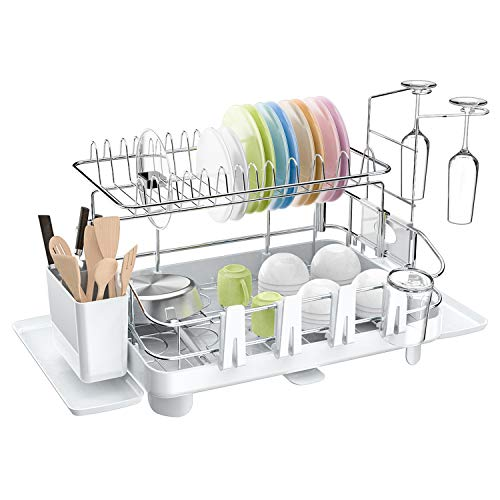 Dish Drying Rack Ohuhu 2 Tier Extra Large Dish Drainer Heavy Duty Stainless Steel Dish Rack and Drainboard Set with Cutlery Tray Cup Holders Dish Dryer for Kitchen Countertop 27 x 13 x 13 Inch