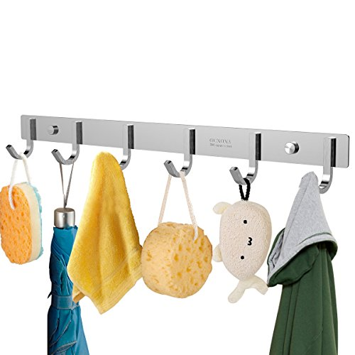 OUNONA Wall Coat Rack Coat Hooks Wall Mounted Stainless Steel Hook Rack for Clothes 6 Hooks
