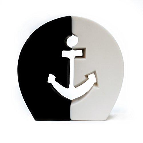 Porcelain Anchor Sea Salt See Pepper Black White Shakers Set Nautical Beach Decor