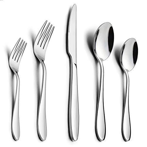 60-Piece Silverware Set HaWare Stainless Steel Modern Flatware Cutlery Set Elegant Tableware Set for 12 Dinner KnivesSpoonsForks Mirror Polished Dishwasher Safe