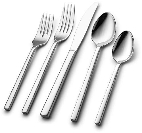 Nehdar Mandarin 40 Piece Serves 8 Premium Modern Stainless Steel Flatware and Silverware Set Dishwasher Safe Cutlery