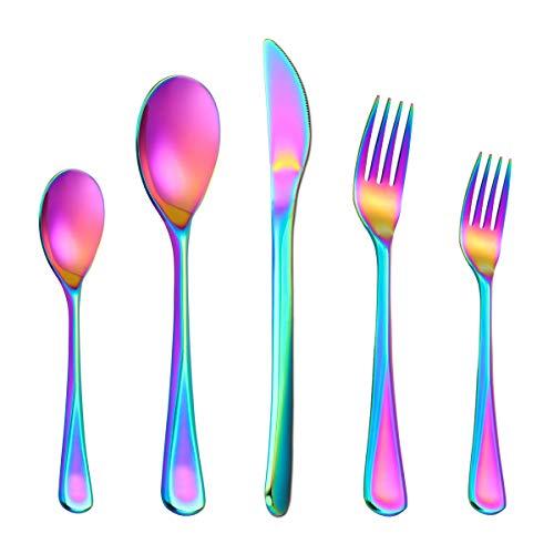 Rainbow Silverware Set for 4 Lekoton 20 Piece Modern Flatware Utensil Set for 4 Include Dinner KnifeDinner ForksDinner SpoonsSalad ForksTeaspoons Dishwasher Safe