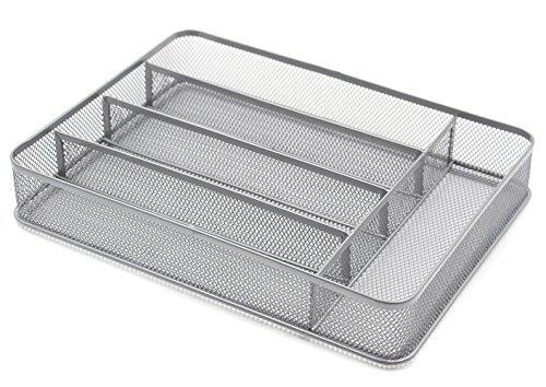 ESYLIFE 5 Compartment Mesh Kitchen Cutlery Trays Silverware Storage Kitchen Utensil Flatware Tray Silver
