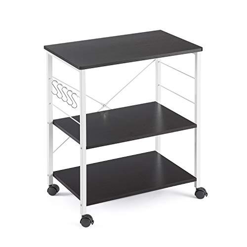 Mr IRONSTONE 3-Tier Kitchen Bakers Rack Utility Microwave Oven Stand Storage Cart Workstation Shelf Dark Brown