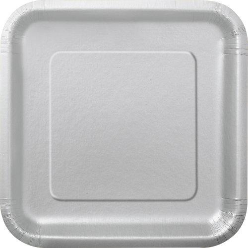 Square Dessert Plates 6875 Silver 16 Count