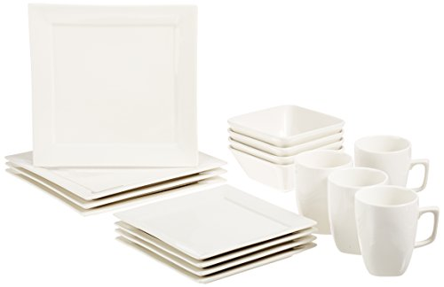 AmazonBasics 16-Piece Classic White Dinnerware Set Square Service for 4