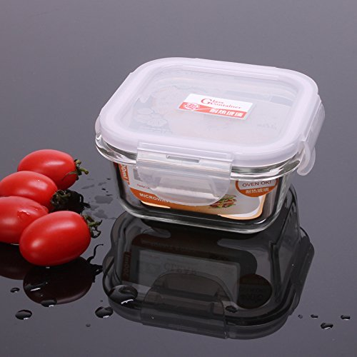 ZEM-PXD 300Ml Square Glass Fresh-Keeping Box Microwave Oven Special Lunch Box Refrigerator Fresh-Keeping Bowl
