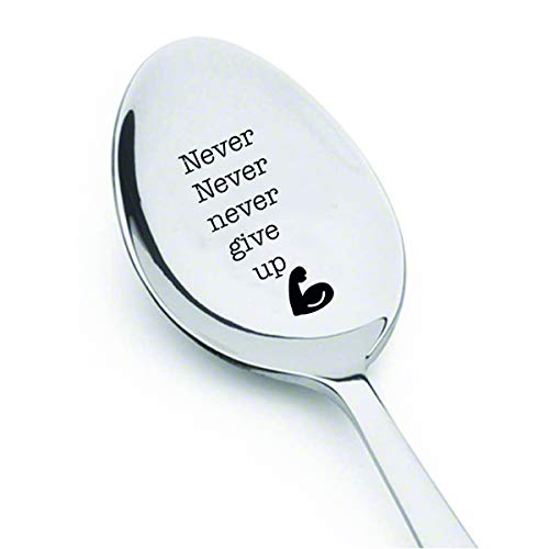 Never never never give up- engraved spoon- coffer lover- engraved silver ware by Boston creative company