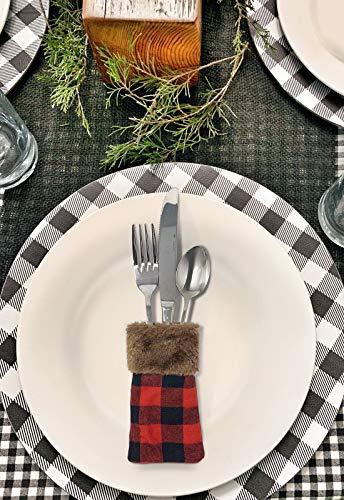 TWIITZ Buffalo Plaid Christmas Holiday Tableware Party Decor Red Silverware Holder
