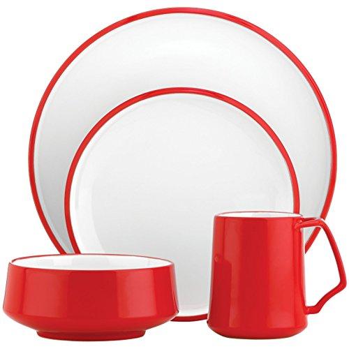 Dansk Kobenstyle 16 Piece Chili Red Stoneware Dishware Set Service for 4