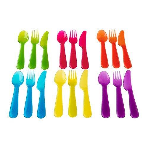 18 Piecespack Plastic Children Cutlery Set Assorted Colours Flatware Sets Kids Tableware Spoonforkknife