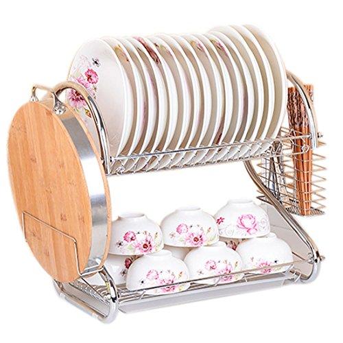2-Tiers Rack Kitchen Dish Bowl Shelf Hanger Organizer Knife Rank cutlery Storage