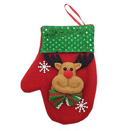 Lanlan 1PCS Cute Christmas Glove Shape Holder Candy Bag Kitchen Cutlery Storage Tableware Holder Hanging Decor Deer