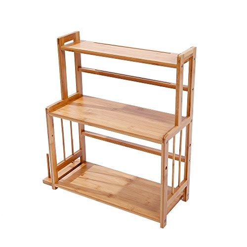 MallBoo Natural Bamboo Multifunction 3 Tier Spice Rack Kitchen StorageShelf Cutlery Storage Holder
