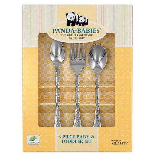 Ginkgo International Panda-Babies 3-Piece Baby Toddler Stainless Steel Flatware Set