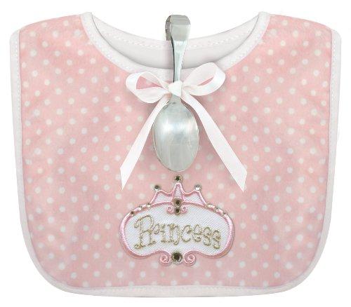 Stephan Baby Infant Girl Polka Dot Bib and Silver Plated Bent-Handled Spoon Gift Set Little Princess