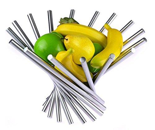 LandtomCreative Stainless Steel Rotation Fruit BowlFruit BasketFruit StandFruit Holder with Free Orange Peeler Silver