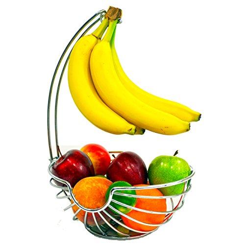 Superiore Livello Chrome Fruit Basket with Banana Hanger Elegant and Decorative Fruit Bowl with Banana Hook