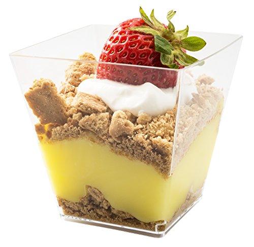 5oz Sturdy Modern Dessert Cup Clear Square Plastic Cup Stylish Parfait Glasses Dessert Cups Fancy Trifle Bowl Quantity 20
