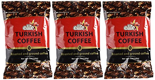 Elite Turkish Coffee Roasted and Ground 35 Ounce 3 Pack